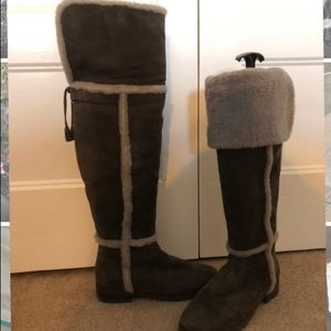Gorgeous FRYE suede and shearling over knee boots